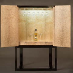 3. interior of the cabinet in birds eye maple